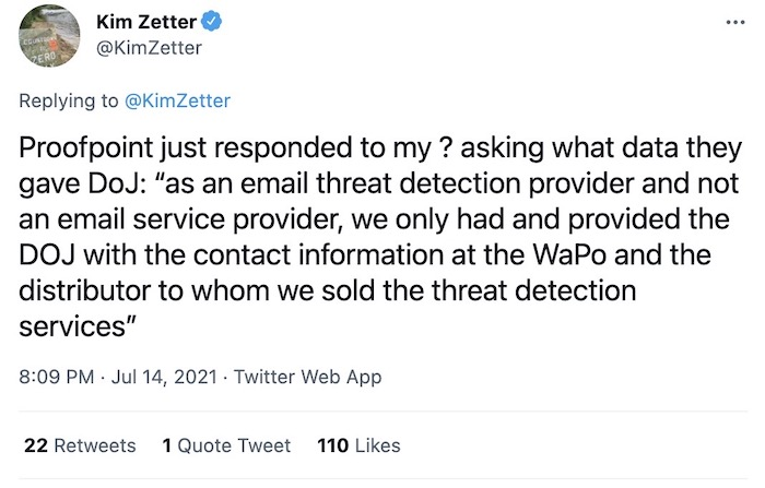 """Tweet from Kim Zetter with Proofpoint's response, which was effectively """"go ask the Washington Post."""""""
