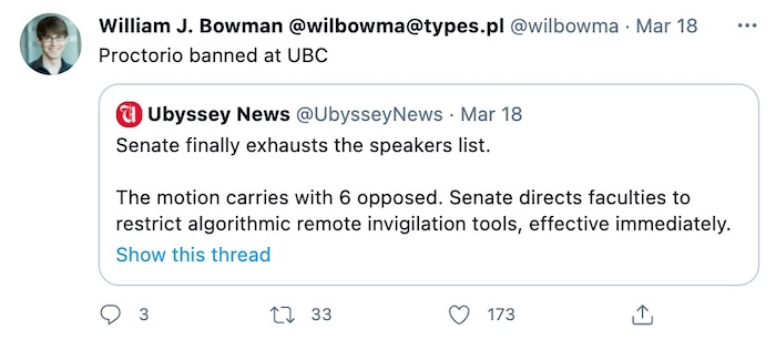 a tweet from a UBC professor saying that Proctorio is banned from the school.