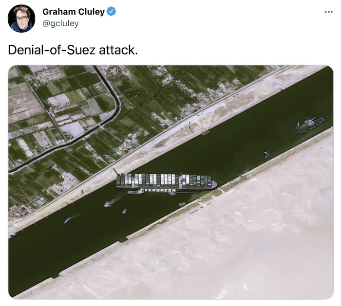 """There's a boat stuck in the Suez canal. Graham's tweet described it as a """"denial of Suez attack."""""""