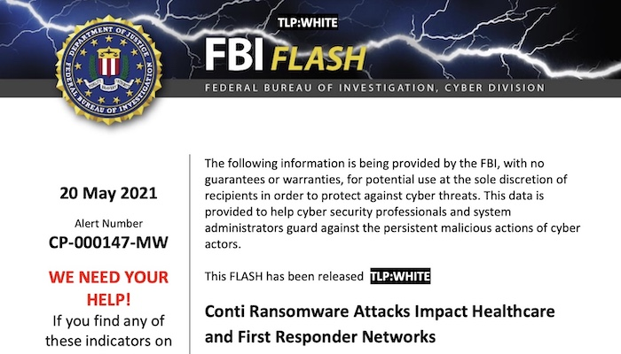 An FBI flash alert about Conti ransomware attacks on healthcare networks.