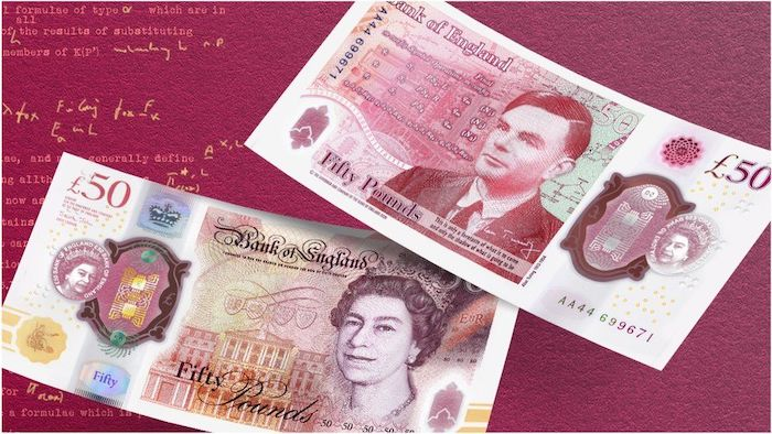 The new design of the British £50 cash note with Alan Turing's face on it.