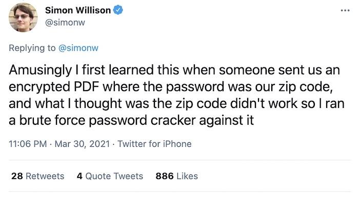 Simon's house has two ZIP codes. His tweet explains more. Follow the link.
