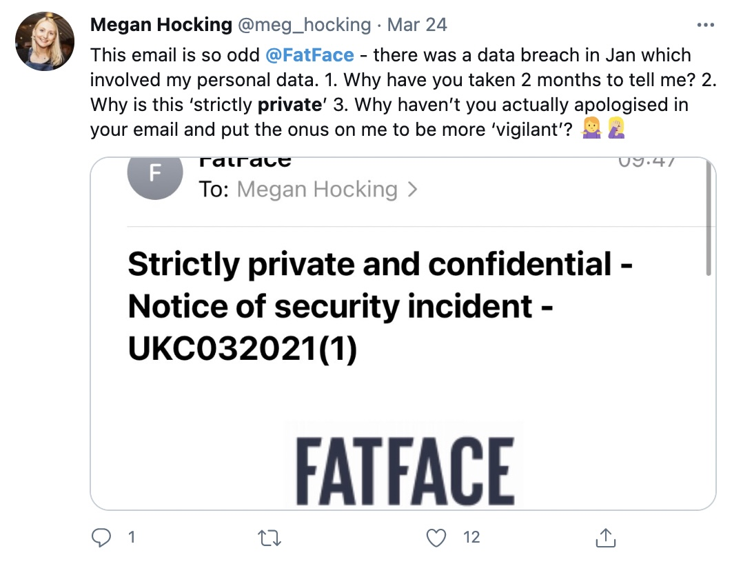 """A screenshot of FatFace's email to customers warning of a data breach, which says to keep the email """"strictly private and confidential"""""""