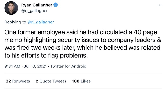 A tweet thread by Ryan Gallagher about former employees who complained of security issues prior to the ransomware attack this month.