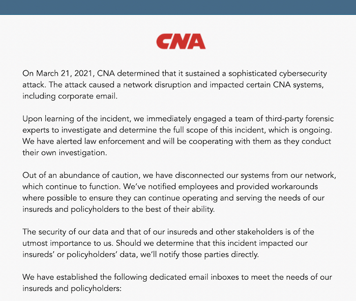 CNA's holding page for its website, which is down after a suspected ransomware attack.