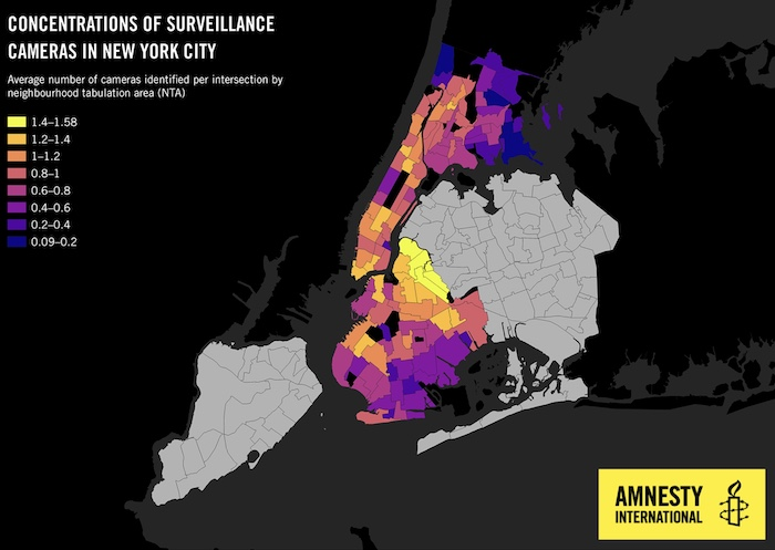 A screenshot of a map by Amnesty that shows most NYPD cameras are in non-white neighborhoods.
