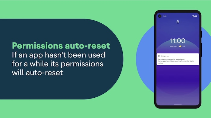 Permissions auto-reset if an Android app hasn't been used for a while.