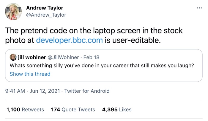 The pretend code on the laptop screen in the stock photo at https://developer.bbc.com is user-editable.