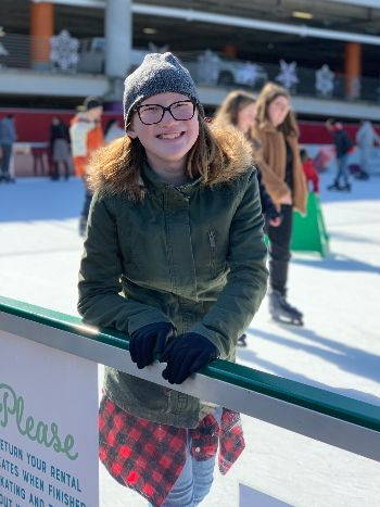 Kate takes time out on the ice to pose for the camera.
