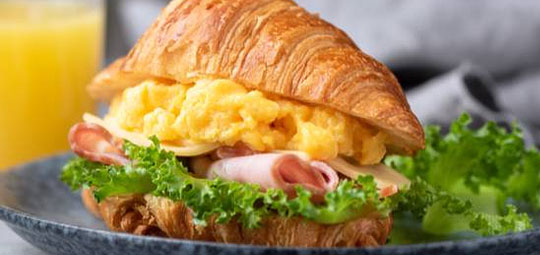 At Home Breakfast Croissant Sandwich