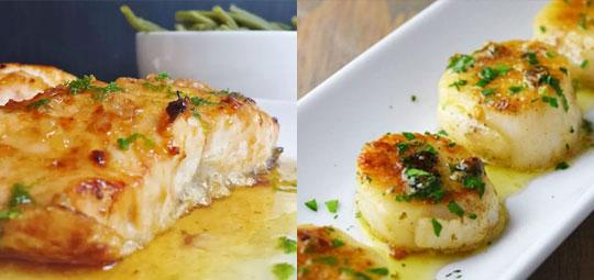 Garlic-Buttered Scallops & Pan-Seared Cod Fillets