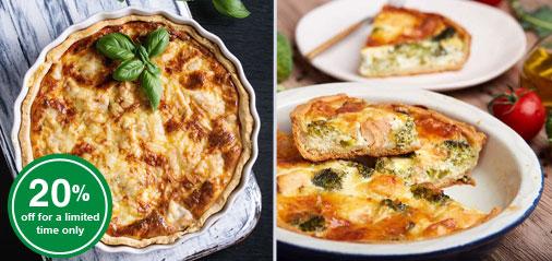 JUST IN: 20% OFF Quiche Lorraine and Salmon & Broccoli Quiche