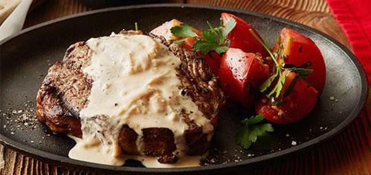 Grilled Steak in Feta Sauce
