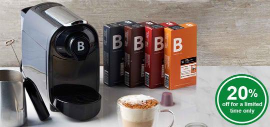 20% OFF B Coffee Co. Coffee Pods & ₱500 OFF The Freshman Coffee Machine