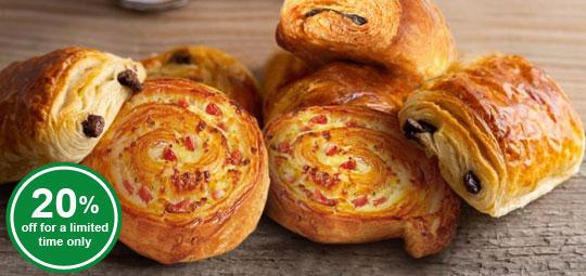 20% OFF Mini Ready-to-bake Chocolate Croissants, Ham and Cheese Swirls
