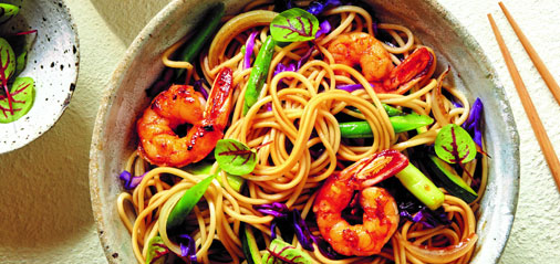 Prawn, Red Cabbage, Cucumber & Ramen Stir-Fry
