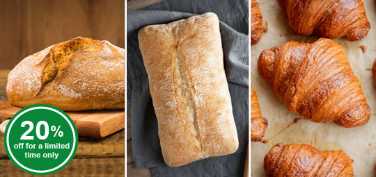 20% OFF Buckwheat Loaf, Cereal Loaf, Mini Butter Croissants
