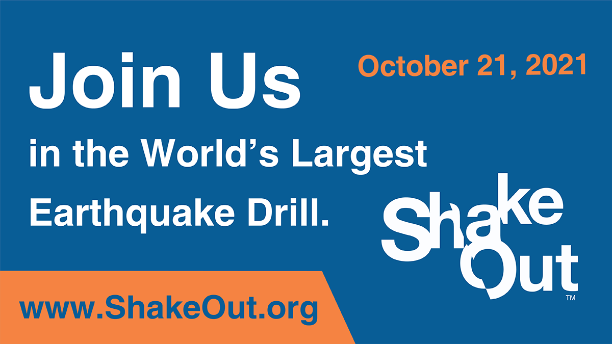 Promotional graphic for ShakeOut advertising International ShakeOut Day on October 21 and link ShakeOut.org.