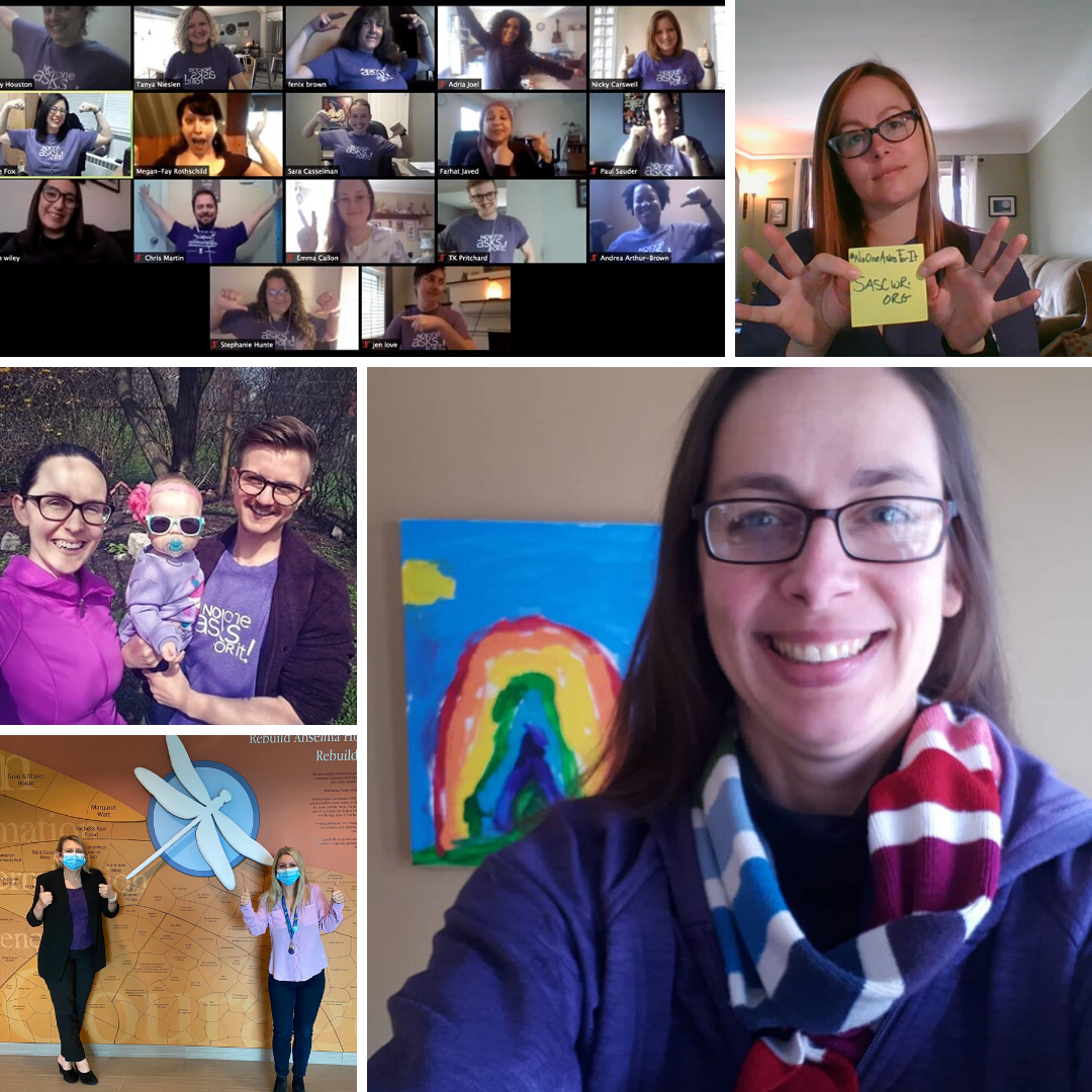 Collage of people wearing purple shirts for Sexual Assault Prevention Month