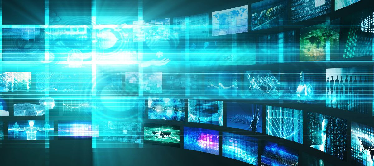 Abstract image of technology, many screens in use signifying global connections.