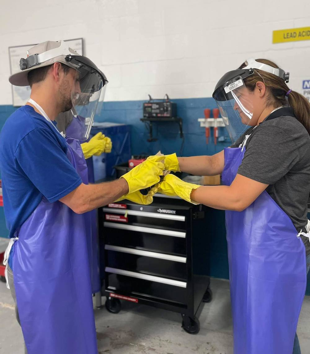 Hands-on aircraft mechanic students