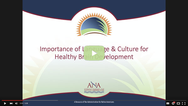 A image linking to the ANA NLCC Web site to watch a video entitled The Importance of Language & Culture for Healing Brain Development