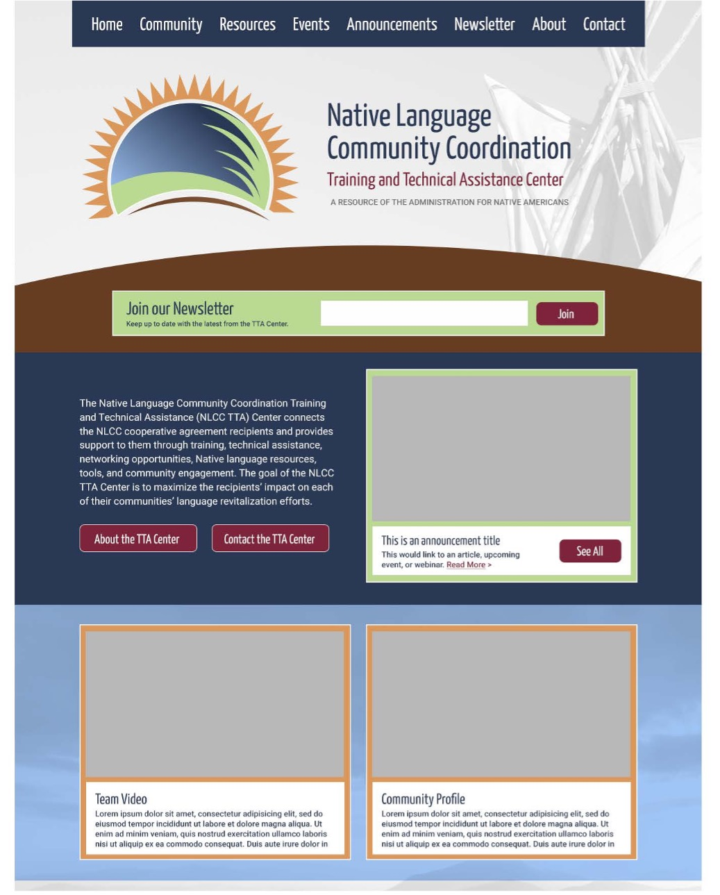 A sample of the new ANA NLCC web site design.