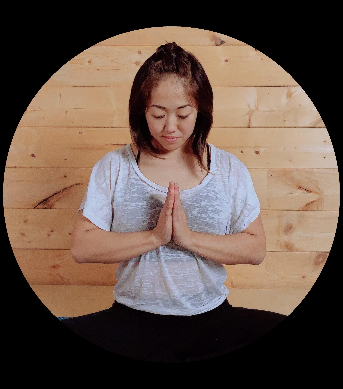 Riki Aihara doing yoga