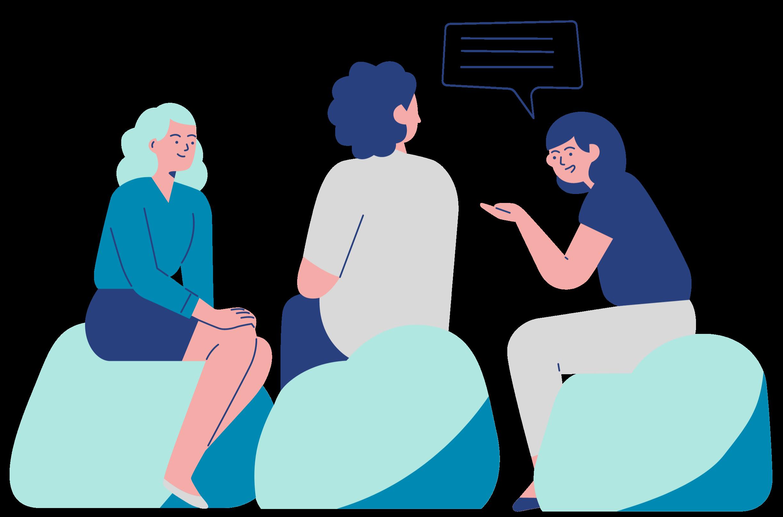drawing of three women sitting in a circle talking