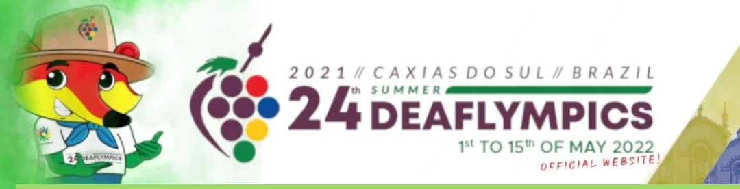 Logo of the 24th Summer Deaflympics 2021 - Caxias Do Sul, Brazil - 1st to 15th of May 2022