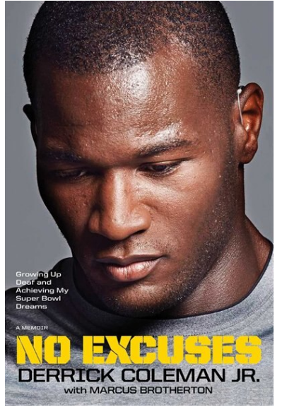 Book Cover of No Excuses with head shot photo of NFL football player Derrick Coleman Jr.