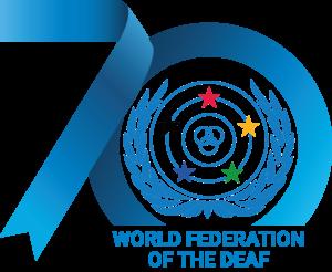 World Federation of the Deaf 70th Anniversary logo