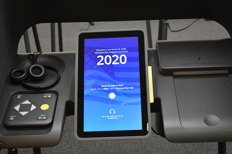 Tablet screen inside a voting station