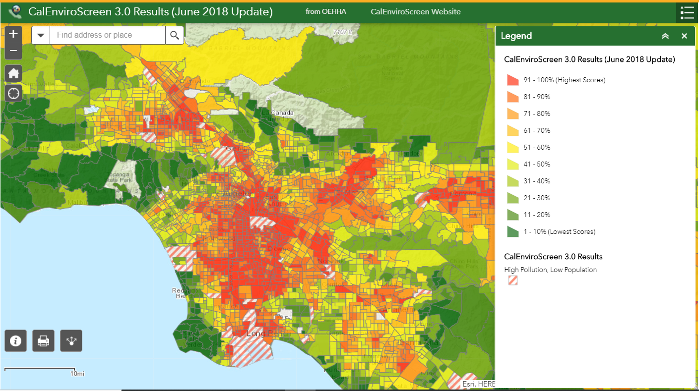 """CalEnviroScreen 3.0 Map Display of """"Overall Results"""" Color red indicates highest level of vulnerability to pollution and green indicates the lowest."""