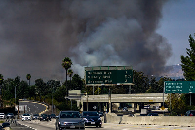 A view of a fire that broke out near the interchange of I-405 with US 101 on Sept. 6, 2020. (Photo by Glenn Beltz/Flickr)