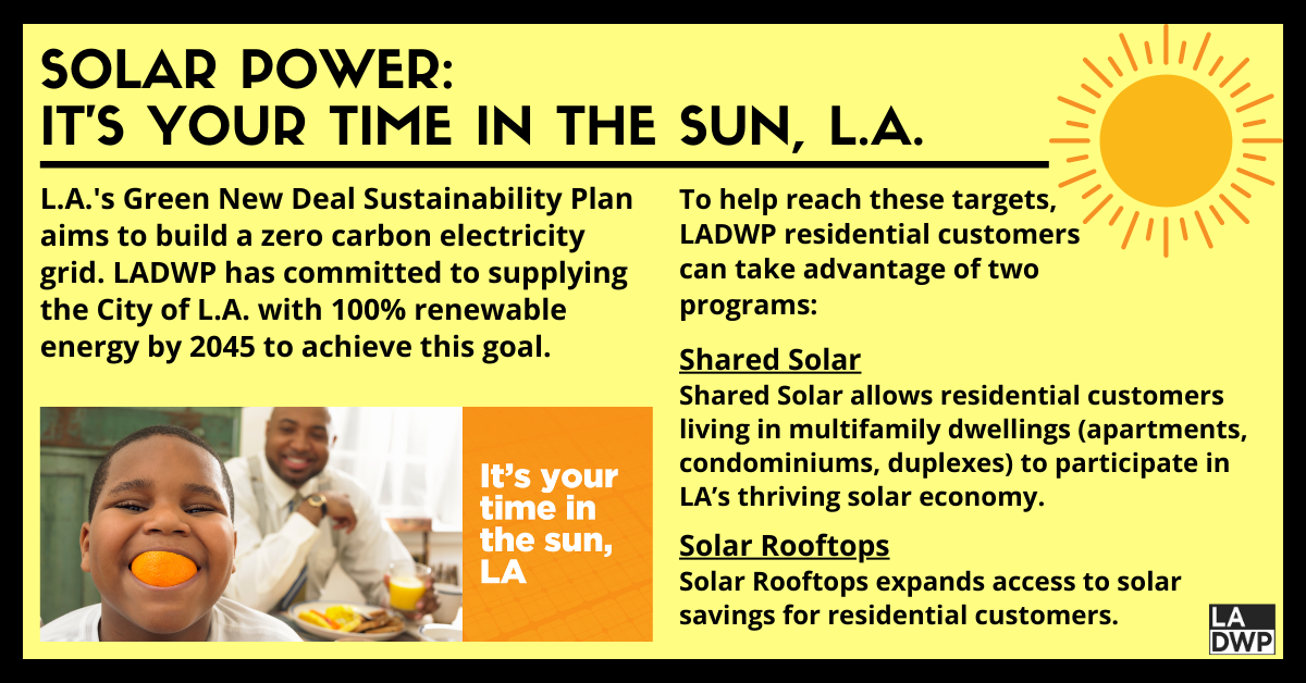 Solar Power: It's Your Time in the Sun, L.A. (LADWP Solar Rebates Graphic): L.A.'s Green New Deal Sustainability Plan  aims to build a zero carbon electricity grid. LADWP has committed to supplying the City of L.A. with 100% renewable energy by 2045 to achieve this goal. To help reach these targets, LADWP residential customers can take advantage of two programs: Shared Solar, which allows residential customers living in multifamily dwellings (apartments, condominiums, duplexes) to participate in LA's thriving solar economy, and Solar Rooftops, which expands access to solar savings for residential customers.