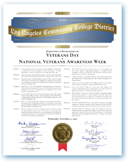 Small thumbnail of LACCD Ceremonial Veterans Day Resolution