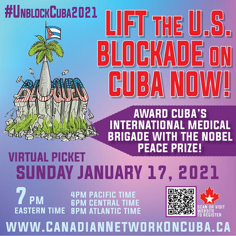 January 17: Virtual Protest to End the U.S. Blockade on Cuba!