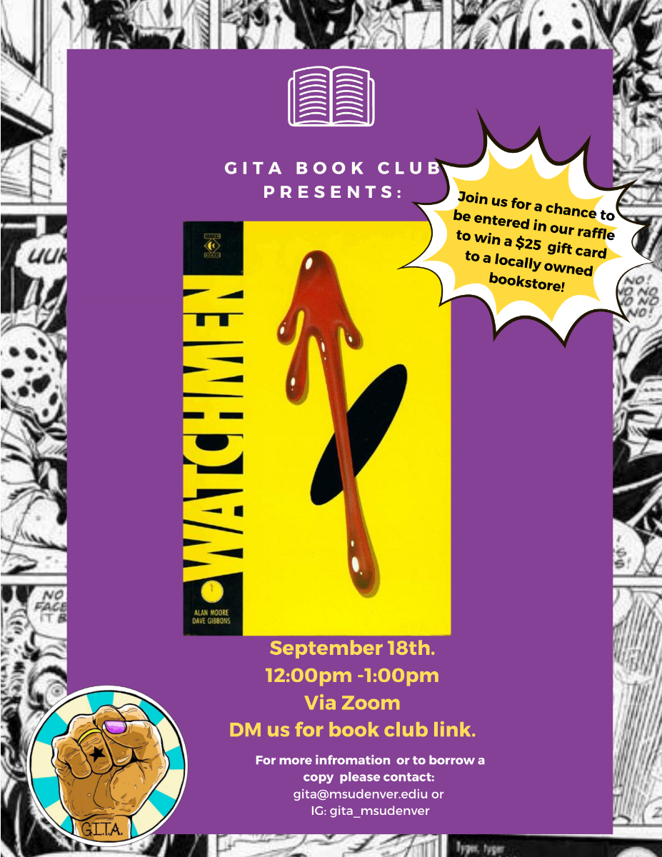Flyer for the September 18th Bookclub featuring the cover of this month's book, Watchmen by Alan Moore & Dave Gibbons