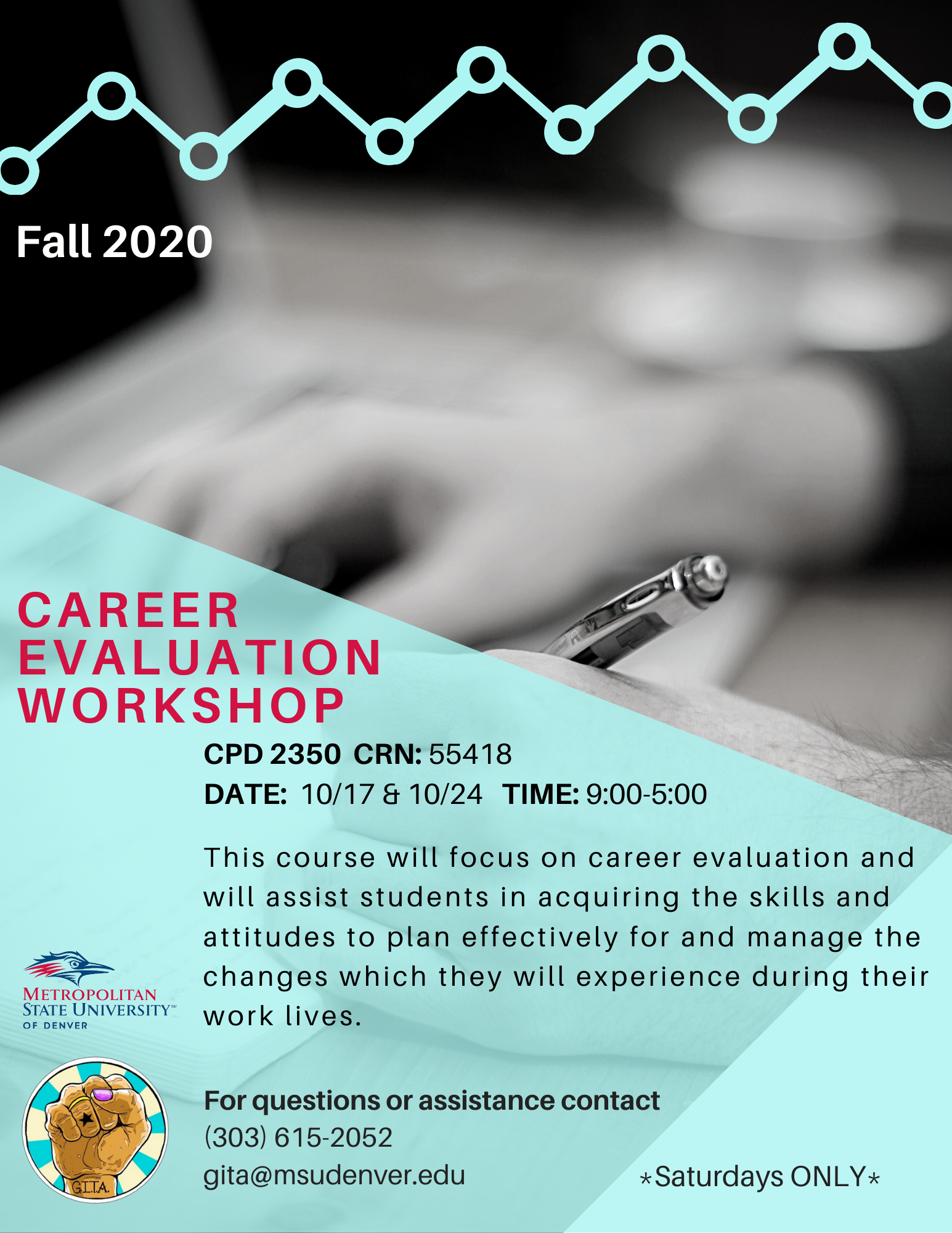 Flyer for CPD 2350 Career Evaluation Workshop Fall 2020 CRN: 55418