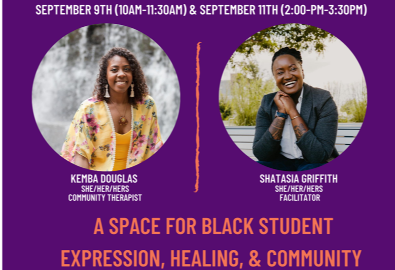 Cropped image from the Healing Spaces for Black Students event flyer, featuring photos of Kimba Douglas and Shatasia Griffith.
