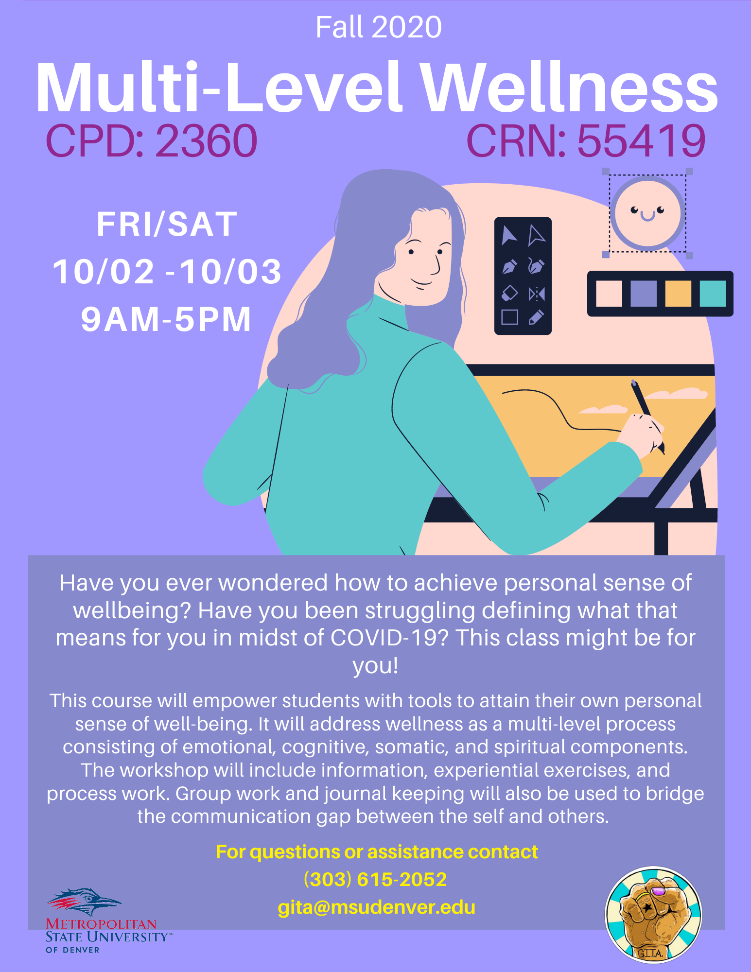 Flyer for CPD 2360 Multi-Level Wellness Fall 2020 CRN: 55419