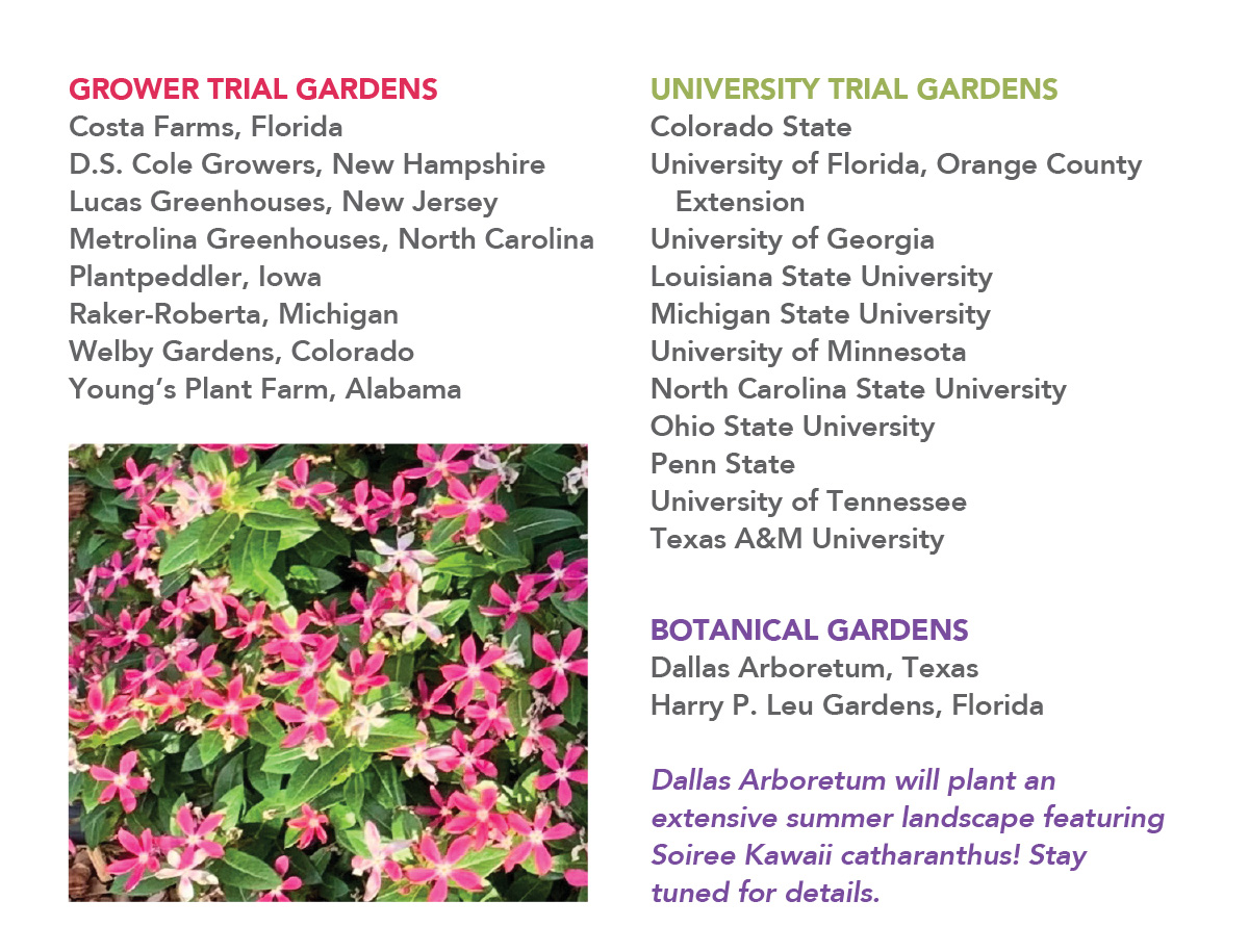 List of Soiree Kawaii Trial Grower, University, and Botanical Gardens