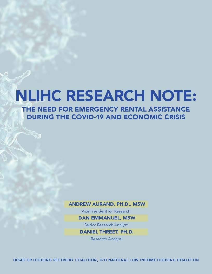 NLIHC: New Analysis on Need for Emergency Rental Assistance During the COVID-19 and Economic Crisis