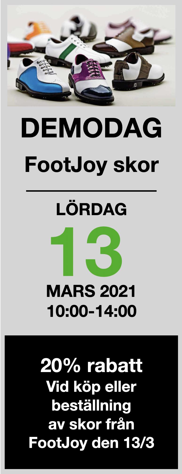Bild som visar utprovning av skor från FootJoy till 20 procent rabatt.