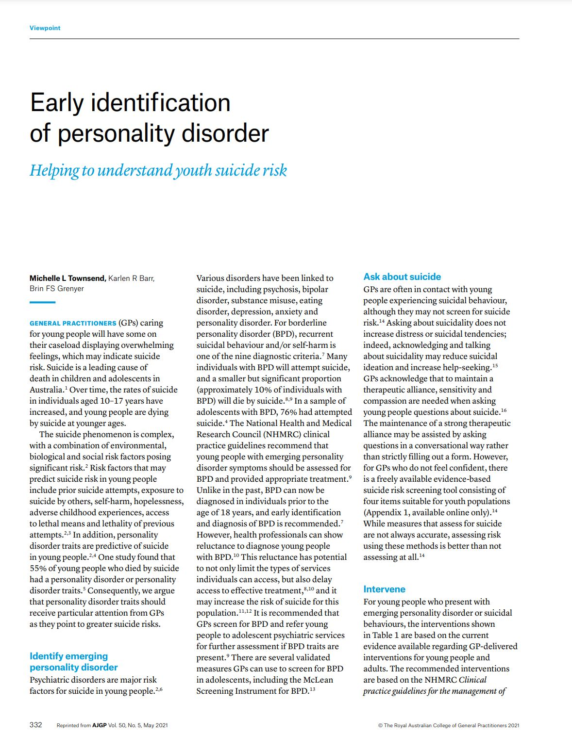 Early identification of PD