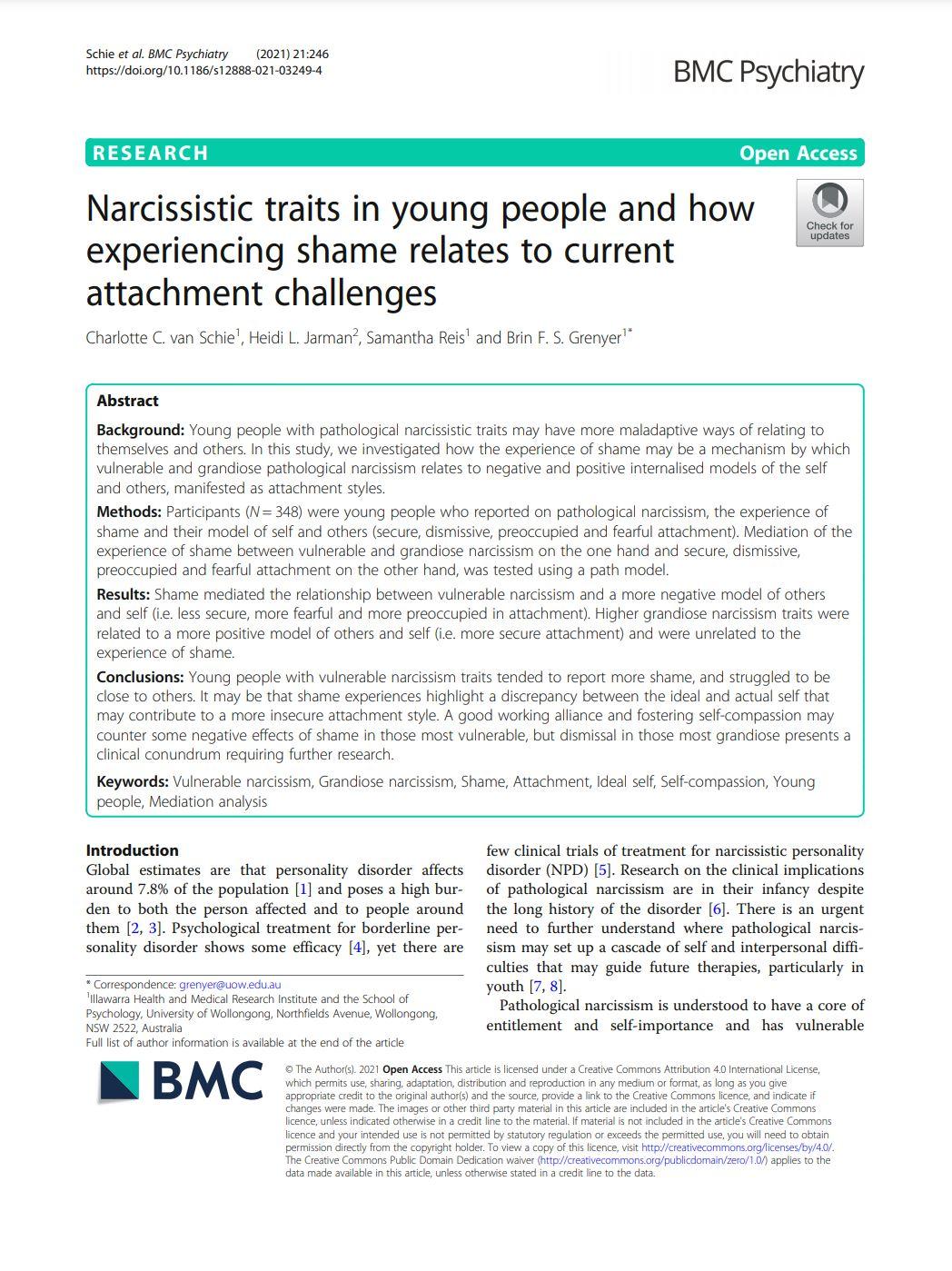 Research Narcissistic traits