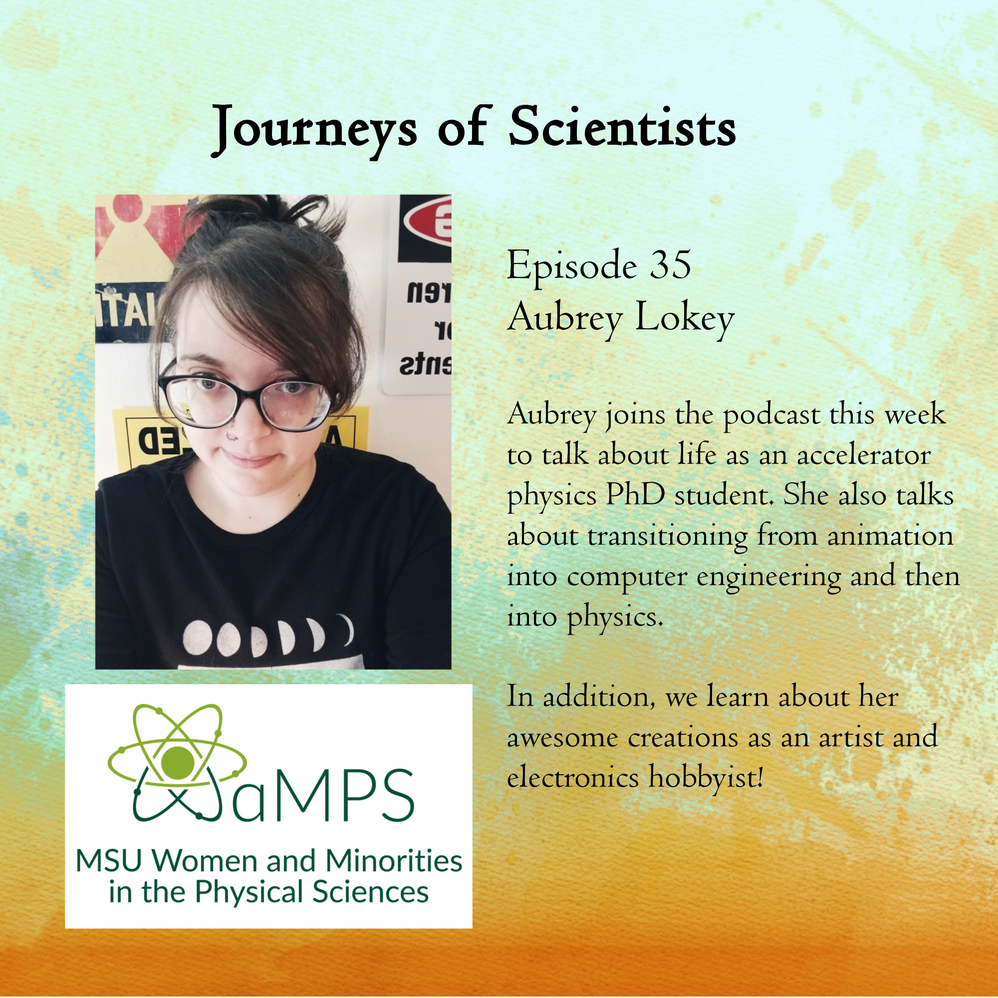 Aubrey is an accelerator physics PhD student studying beam diagnostics and instrumentation. Outside of research, she is an artist and electronics hobbyist.