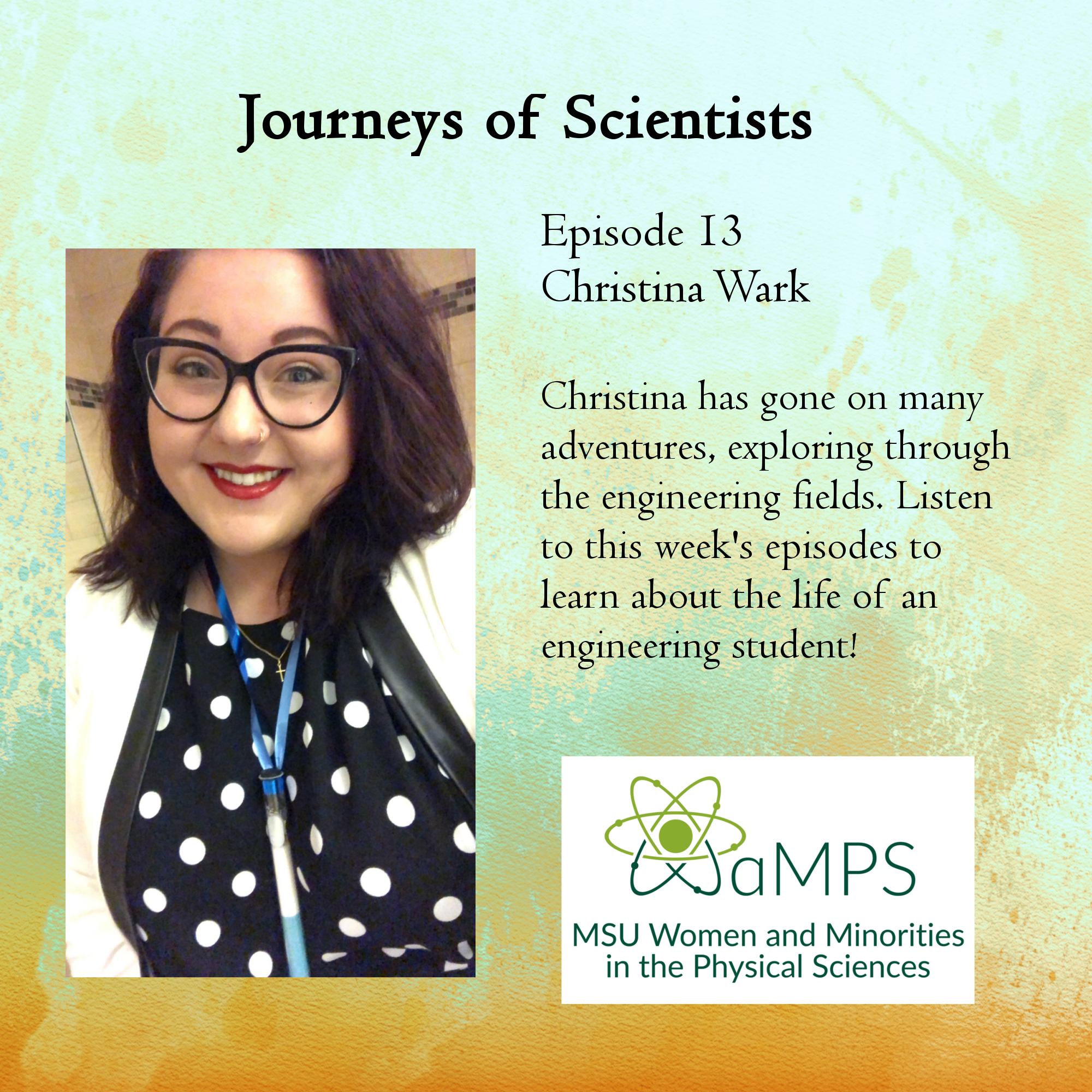Christina Wark is a PhD student in chemical engineering. She recently joined the SCB group in ChEMS where, broadly, she will work with electrochemistry. Some of the work that she has been involved in so far includes building computational models of reaction kinetics in electrochemical reactions and observing the associated hydrogen evolution reaction. More information about the MSU Women in Engineering can be found at https://www.egr.msu.edu/wie/